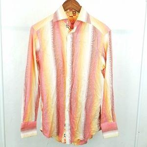 Mens Robert Graham Pink Orange Yellow Button Up